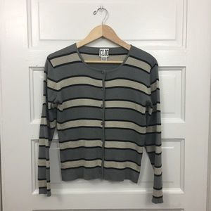 VINTAGE Silk Striped Cardigan